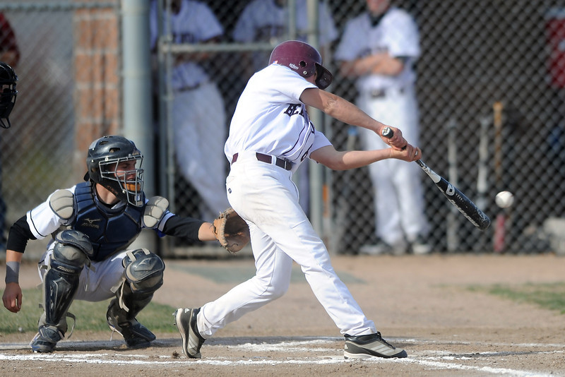 Berthoud High School's Austin Bending hits a single in the bottom of the fourth inning of a game against Resurrection Christian on Thursday, April 5, 2012 at Sommers Field.