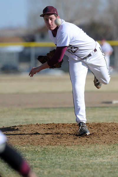 Berthoud High School's Luke read throws a pitch in the top of the third inning of a game against Fort Morgan on Saturday, March 17, 2012 at Sommers Field.