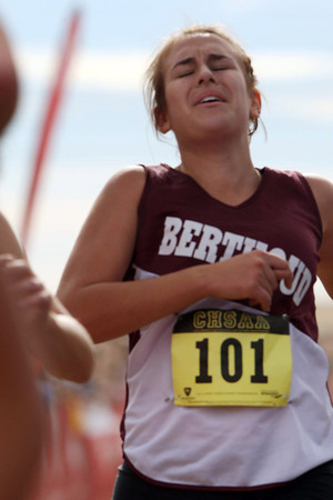 Berthoud's Emma Otto (101)crosses the finish line in a class 3A State Cross Country Championship at the Arapahoe County Fairgrounds on Oct. 30 in Aurora. (Heather A. Longway/ The Reporter-Herald)