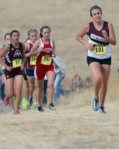 Berthoud's Emma Otto (101) runs in a class 3A State Cross Country Championship at the Arapahoe County Fairgrounds on Oct. 30 in Aurora. (Heather A. Longway/ The Reporter-Herald)