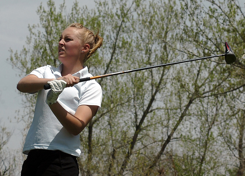 Berthoud's Brandi Peter during regional golf Monday at Maraina Butte.