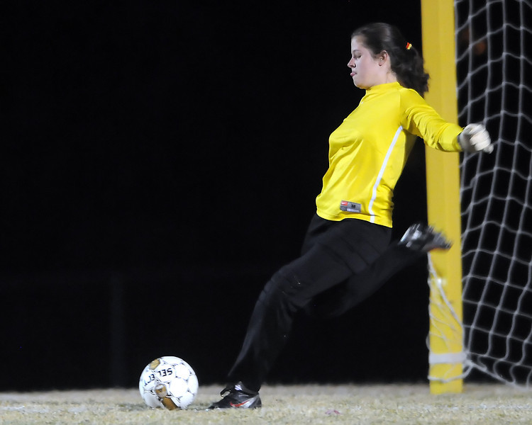 Berthoud High School senior Lydia Munoz kicks a goal kick in the first half of a game against Thompson Valley on Wednesday, March 17, 2010 at Marr Field.