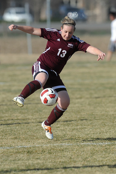 Berthoud High School's Chloe Murray gains control of the ball in the second half of a game against Mountain Vew on Wednesday, March 28, 2012 at MVHS.