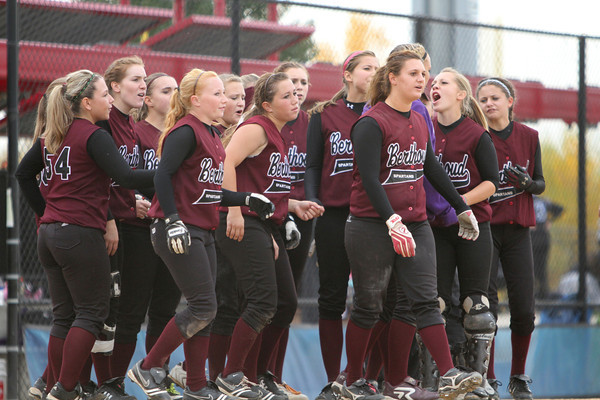 Berthoud celebrates after ther 20-0 win over Rifle at the CHSSA state softball championships, day 1. Photo by Jenn LeBlanc