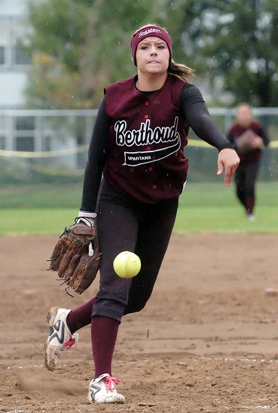 Berthoud High School sophomore Victoria Puchino throws a pitch in the top of the second inning of a game against Thompson Valley on Wednesday at BHS.