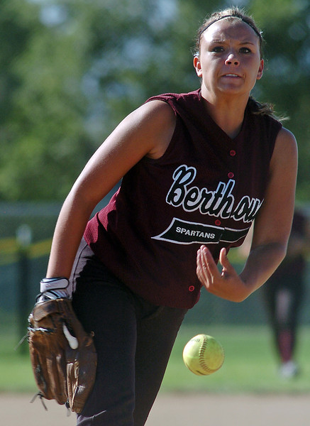 Berthoud High School sophomore Victoria Puchino throws a pitch in the top of the second inning of a gama against Roosevelt on Tuesday at BHS.