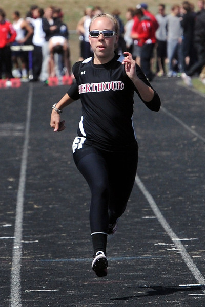 Berthoud High School's Hannah Kirk competes in the 100-meter dash during the R2J Invitational on April 24, 2013 at Loveland High School.
