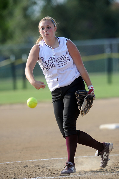 Berthoud High School senior Morgan Thornhoff throws a pitch in the top of the third inning of a game against Windsor on Thursday, Sept. 20, 2012 at Bein Park.