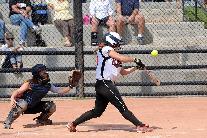 Roosevelt High School's Madison Kilcrease at bat during a game against Berthoud on Saturday, Sept. 22, 2012 at Nelson Farm Park in Johnstown.
