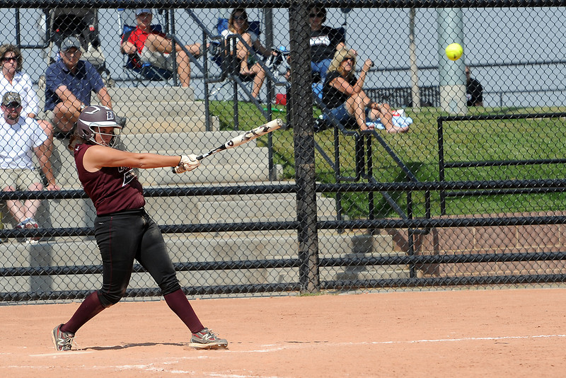 Berthoud High School's Sammie Villarreal hits a single in the top of the fourth inning of a game against Roosevelt on Saturday, Sept. 22, 2012 at Nelson Farm Park in Johnstown.