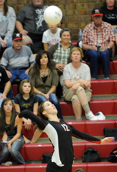Roosevelt High's #12 Breanne Hankins during a game against Berthoud High in Berthoud Thursday, September 13, 2012.