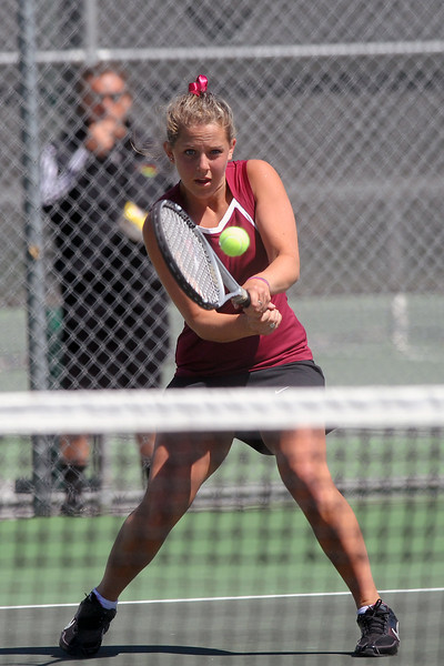Berthoud High School's Emma Roper returns a shot during a No. 3 singles match for the Northern Colorado Invitational on Friday, April 13, 2012 at LHS.
