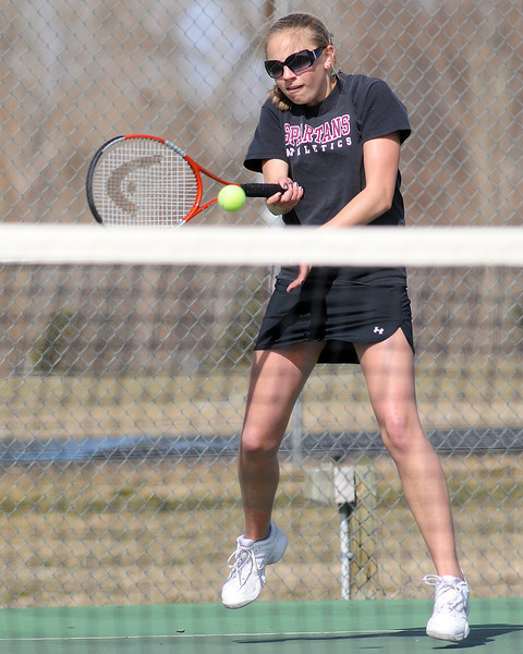 Berthoud High School's Jessica Mulder returns a shot during her match against Erie's Haley Belenski on Thursday, March 18, 2010 at BHS.