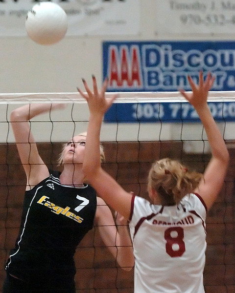 Thompson Valley High School senior Erin Marolf (7) keeps her eyes on the ball as she goes up against Berthoud's Elle Satterthwaite in game one of their match on Friday, Sept. 10, 2010 at BHS. Thompson Valley won, 3-0.