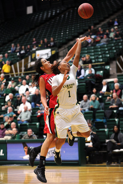 Colorado State freshman LaDeyah Forte, right, puts up a shot in front of Las Vegas' Jamie Smith in the first half of their game Wednesday, Feb. 1, 2012 at Moby Arena.