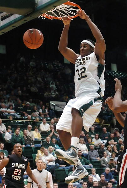 Colorado State University junior Andy Ogide slam dunks in the second half of a game against San Diego State on Saturday, Jan. 30, 2010 at Moby Arena in Fort Collins. Ogibe lid the team in scoring with 13 points, but the Rams lost, 64-52.