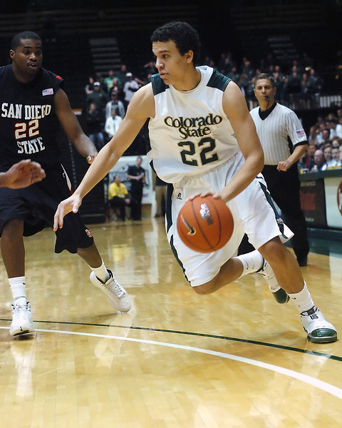 Colorado State University freshman Dorian Green dribbles past San Diego State's Chase Tapley in the second half of their game on Saturday, Jan. 30, 2010 at Moby Arena in Fort Collins.