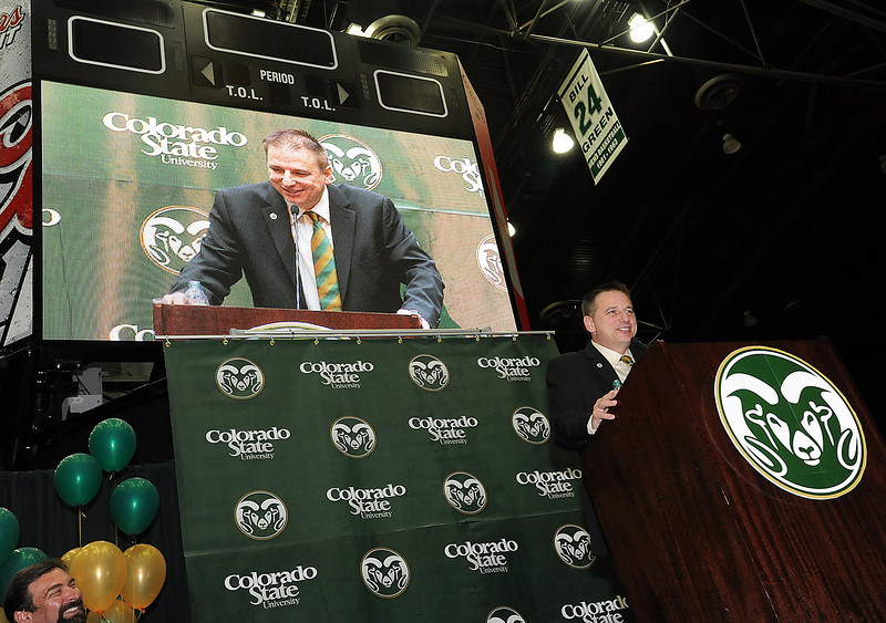Larry Eustachy, the new head men's basketball coach for Colorado State University, speaks to a crowd after being announced as the new coach Thursday afternoon at CSU in Fort Collins.
