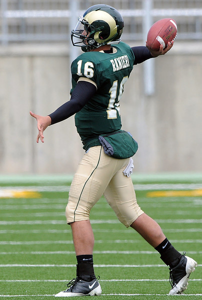 Colorado State University quarterback Nico Ranieri rears back to throw a pass during the football team's Green and Gold game on Saturday, April 24, 2010 at Hughes Stadiium in Fort Collins.