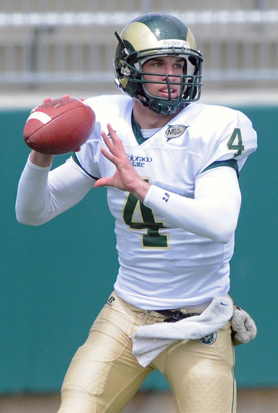 Colorado State University quarterback Pete Thomas drops back to pass during the football team's Green and Gold game on Saturday, April 24, 2010 at Hughes Stadiium in Fort Collins.
