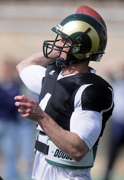 Colorado State University quarterback Pete Thomas rears back to make a pass during the spring football game Saturday, April 9, 2011 at Hughes Stadium in Fort Collins, Colo.
