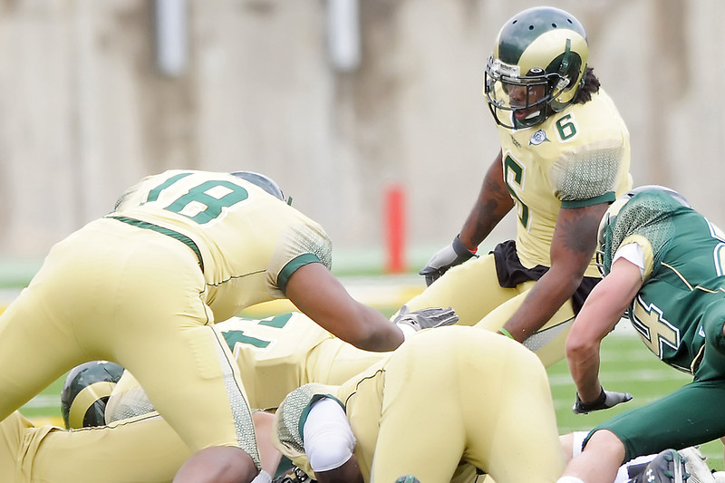 Colorado State University linebacker Mychal Sisson (6) during the Green-Gold game on Saturday, April 23, 2011 at Hughes Stadium in Fort Collins.