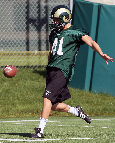 Colorado State University punter Pete Kontodiakos kicks the ball during practice Aug. 8 at the team's practice field in Fort Collins.