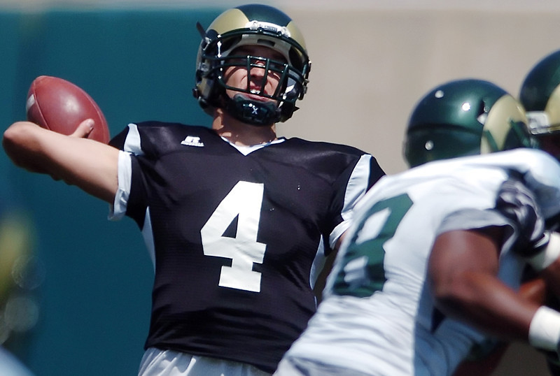Colorado State University quarterback Pete Thomas throws a pass during a situational scrimmage Saturday at Hughes Stadium in Fort Collins.
