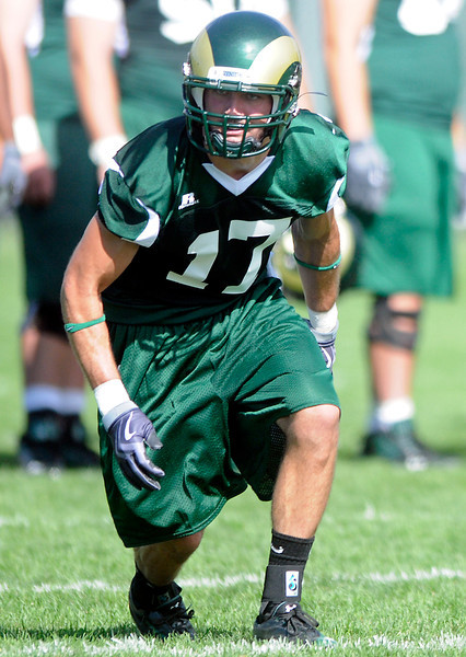 Colorado Stata University wide receiver T.J. Borcky runs a route during football practice Thursday in Fort Collins.