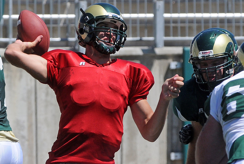 Colorado State University quarterback Pete Thomas throws a pass during a situational scrimmage Saturday afternoon at Hughes Stadium in Fort Collins.
