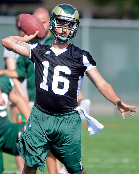 Colorado State University quarterback Nico Ranieri makes a throw during football practice Thursday in Fort Collins.