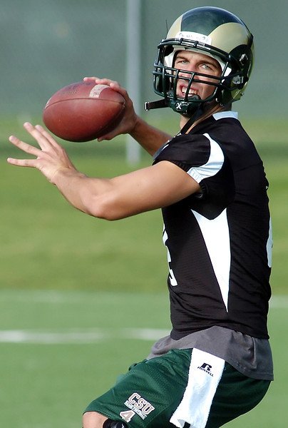 Colorado State University freshman Pete Thomas drops back to pass during football practice Thursday in Fort Collins.
