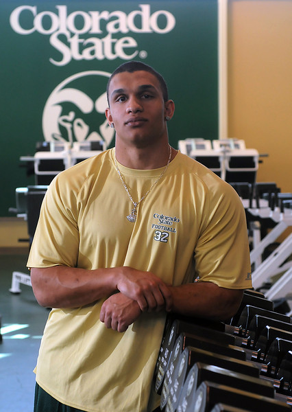 Thompson Valley High School graduate and Colorado State football player Dorian Brown poses on campus Friday, Jan. 21, 2011 in the weigh room.