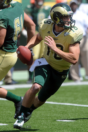 Colorado State quarterback Garrett Grayson scrambles while looking for an open receiver during the Green and Gold spring game Saturday, April 21, 2012 at Hughes Stadium.