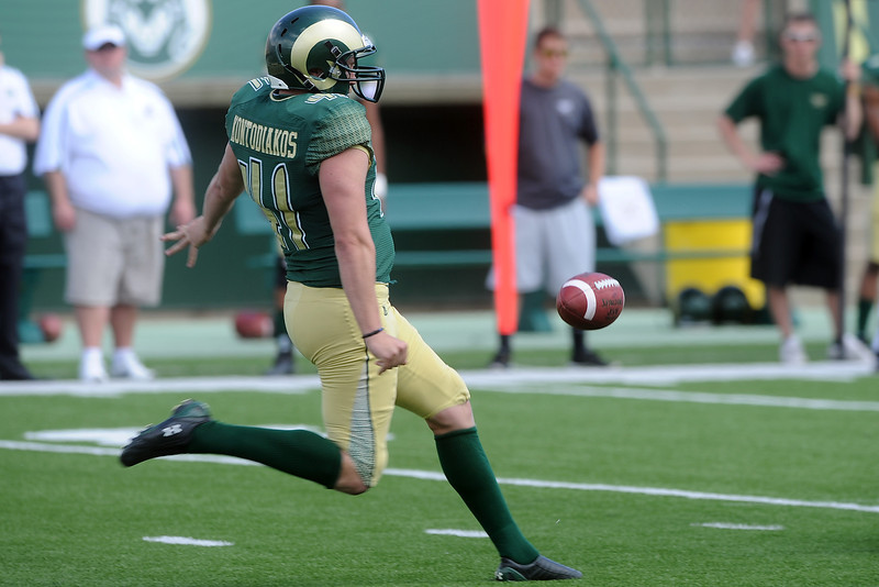 Colorado State punter Pete Kontodiakos kicks the ball during the Green-Gold Game on Saturday, April 21, 2012 at Hughes Stadium.