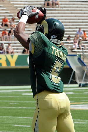 Colorado State cornerback Momo Thomas makes an interception in the first half of the Green and Gold spring game Saturday, April 21, 2012 at Hughes Stadium.