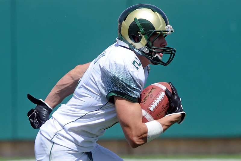 Colorado State wide receiver Thomas Coffman runs after making a catch during the Green and Gold spring game Saturday, April 21, 2012 at Hughes Stadium.