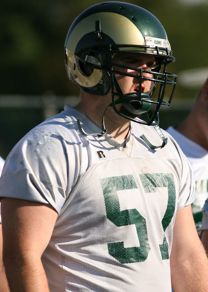 Colorado State University offensive lineman Tim Walter during a recent practice in Fort Collins.