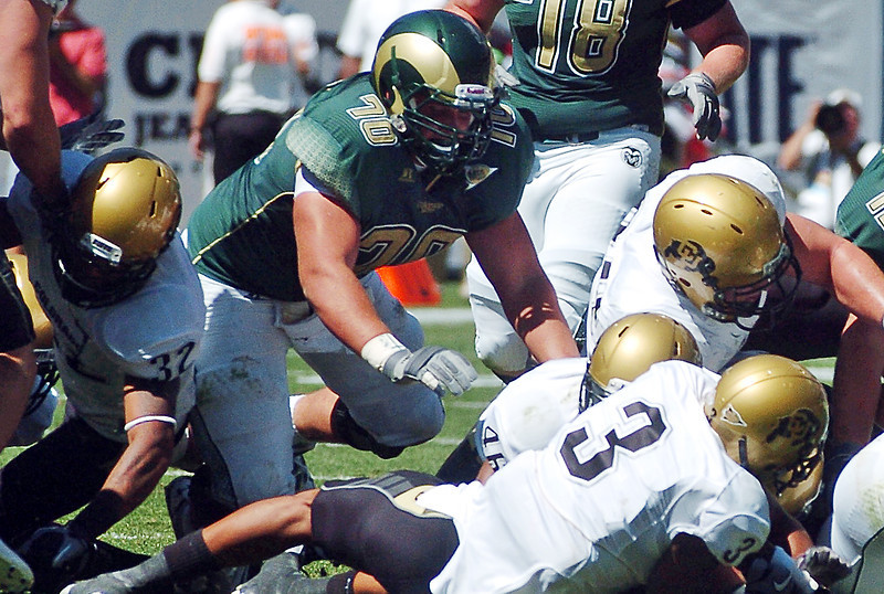 Colorado State University offensive lineman Weston Richburg during a game against Colorado on Sept. 4, 2010 at Invesco Field in Denver.