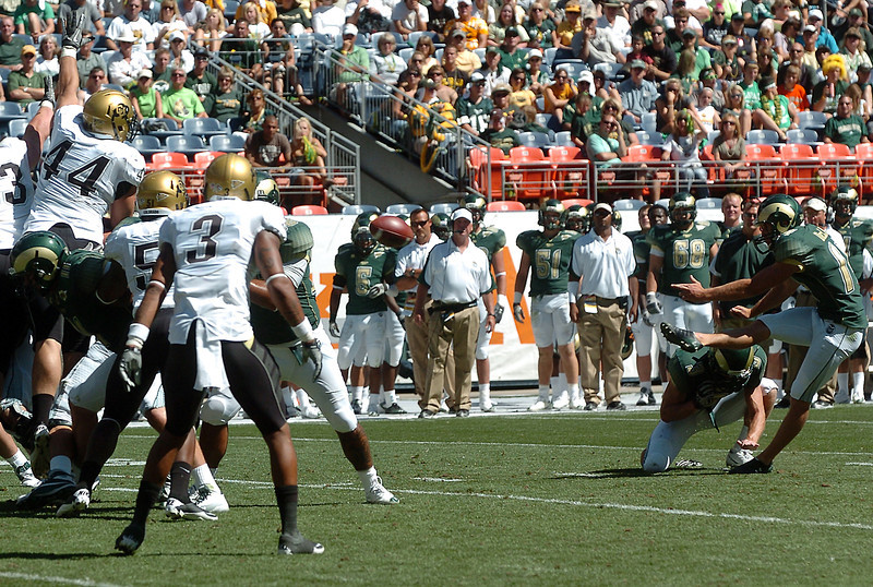 Colorado State University kicker Ben DeLine kicks a field goal in the fourth quarter for the only points of the Rams' game against Colorado on Saturday at Invesco Field in Denver. The Rams lost, 24-3.