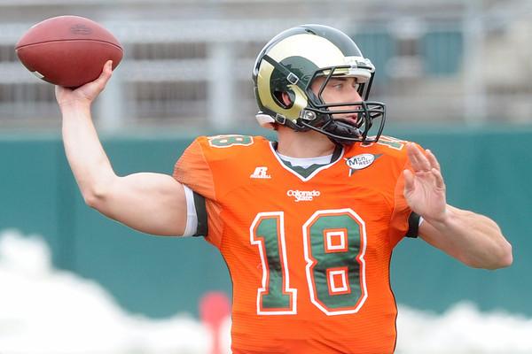 Colorado State University quarterback Garrett Grayson throws a pass during a scrimmage Saturday, April 20, 2013 at Hughes Stadium in Fort Collins, Colo.
