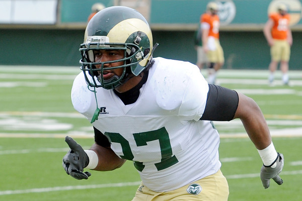 Colorado State University linebacker Aaron Davis works on a drill before an intra-squad scrimmage on Saturday, April 6, 2013 at Hughes Stadium.