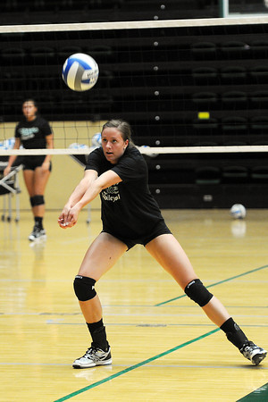 Colorado State senior Dana Cranston returns a shot during practice Wednesday, Aug. 8, 2012 at Moby Arena.