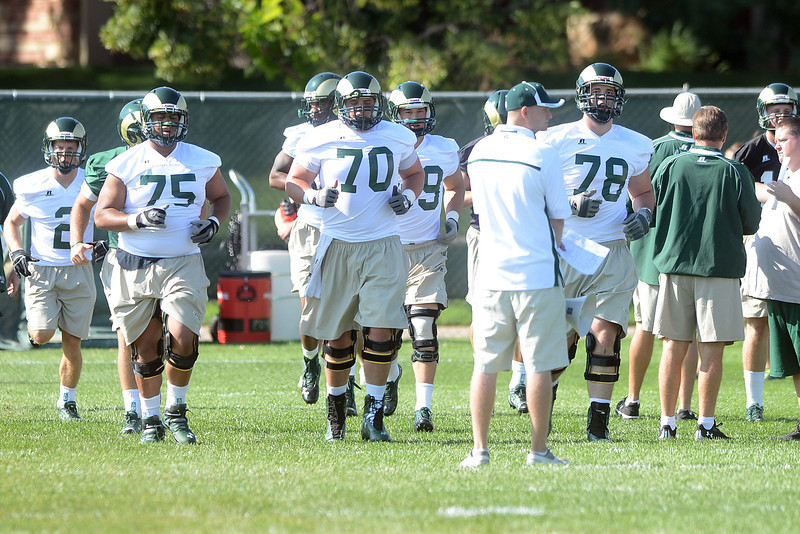 Colorado State football players and coaches during a recent practice at their on-campus facility.