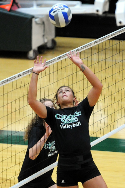 Colorado State sophomore Deedra Foss sets the ball during a recent practice at Moby Arena.