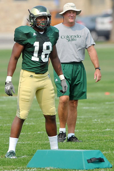 Colorado State linebacker Davis Burl during a recent practice at the team's on-campus practice field in Fort Collins.
