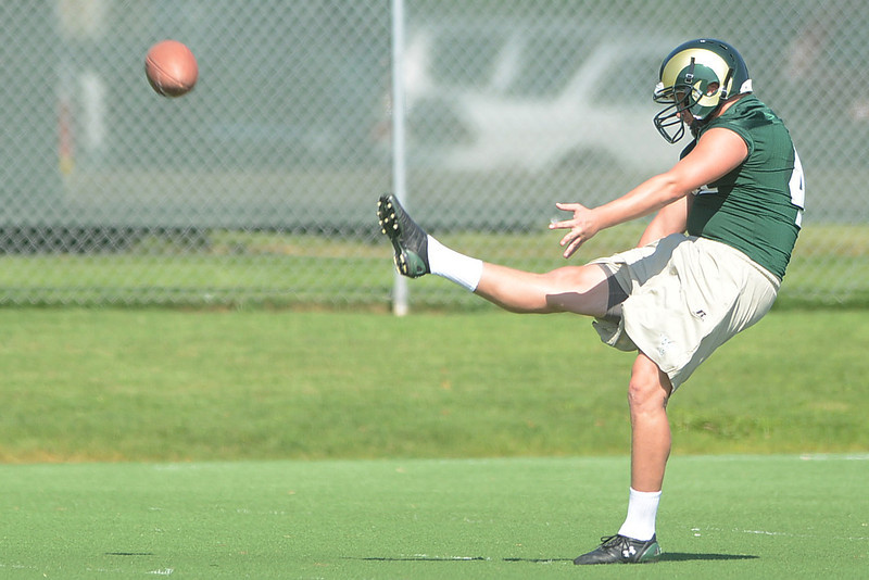 Colorado State senior Pete Kontodiakos kicks a punt during practice Aug. 4, 2012 at the team's on-campus practice field.