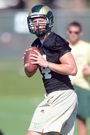 Colorado State quarterback M.J. McPeek works on a drill during practice Saturday, Aug. 4, 2012 at the team's on-campus practice field.