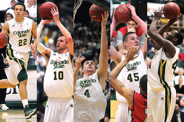Montage of Colorado State University men's basketball players who are seniors, from left, Dorian Green, Wes Eikmeier, Pierce Hornung, Colton Iverson and Greg Smith during the 2012-2013 season.