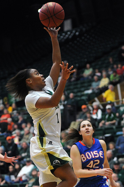Colorado State University sophomore LaDeyah Forte, left, puts up a shot in front of Boise State's Kayla Reinhart in the first half of their game on Saturday, March 2, 2013 at Moby Arena.